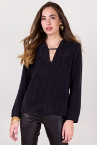 Ioanna Kourbela Dark Blue Longsleeve Blouse / Size: S - Fit: True to size