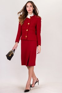 Chanel Red Wool Tweed Set with Blazer and Skirt / Size: 38 - Fit: S