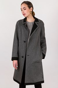 Armani jeans Black-Grey Reversible Felt Coat / Size: 40 IT - Fit: S / M