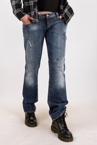 Dsquared2 Blue Straight Distressed Jeans with Leather Details / Size: 48 IT - Fit: M