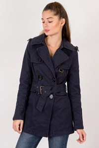 Juicy Couture Blue Cotton Trench Coat / Size: S - Fit: True to size