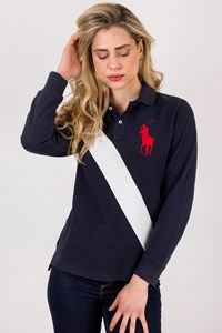 Polo Ralph Lauren Blue Pique Longsleeved Polo Top / Size: L - Fit: M