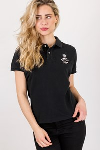 Ralph Lauren Black Pique Polo Top / Size: XL - Fit: M