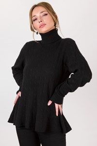 Ralph Lauren Black Knitted Cashmere Τurtleneck Blouse / Size: XL - Fit: M