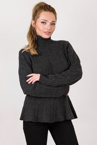 Ralph Lauren Dark Grey Knitted Cashmere Τurtleneck Blouse / Size: XL - Fit: M