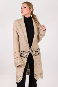 Night Beige Knitted Cardigan with Metallic Thread / Size: M - Fit: XS