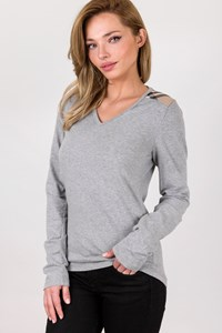 Burberry London Grey Cotton Long Sleeve Top with Check Printed Details / Size: S - Fit: True to size