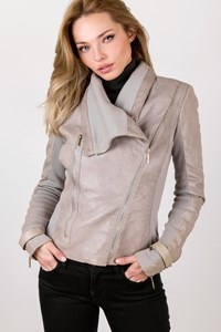 Elisabetta Franchi Grey Leather Jacket with Elasticated Parts / Size: 44 IT - Fit: S