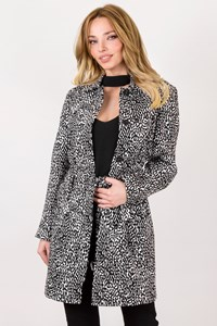 DVF Black and White Lennon Cotton Trench Coat / Size: 4 US - Fit: S