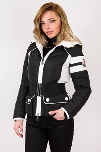 Moncler Black and White Pepper Grenoble Puffer Jacket / Size: 1 - Fit: XS