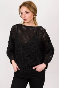 Zimmermann Black Perforated Top with Zippers / Size: 0 - Fit: S / M
