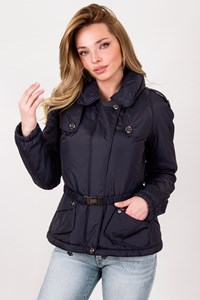Burberry London Dark Blue Jacket with Hidden Hood / Size: 8 UK - Fit: XS