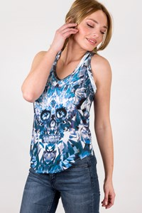 MCQ Cotton Skull-Print T-Shirt in Blue Shades / Size: 38 - Fit: S