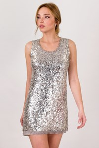 Balmain Silver Sequin Mini Dress / Size: 36 - Fit: XS