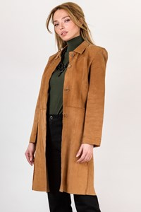 L K Bennett Tan Suede Coat / Size: 10 UK - Fit: S
