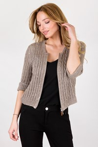 Brunello Cucinelli Beige Knitted Linen Cardigan with Sequins / Size: XXXL - Fit: S / M