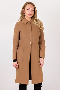 Paul & Joe Beige Wool Felted Coat / Size: 36 - Fit: XS