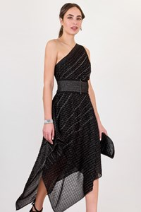 Missoni Asymmetric One-shoulder Metallic Knit Midi Dress / Size: 44 IT - Fit: M