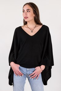 Paul & Joe Black Cashmere Knitted Blouse with Wide Sleeves / Size: 2 - Fit: M / L
