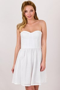 Juicy Couture White Perforated Cotton Strapless Dress / Size: 2 US - Fit: XS / S