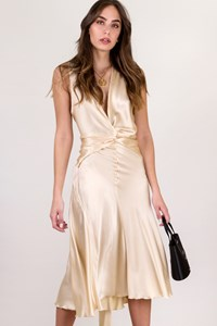 Donna Karan Ecru Satin Midi Dress / Size: ? - Fit: M