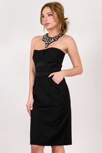 DVF Black Wool Strapless Dress / Size: 4 US - Fit: S