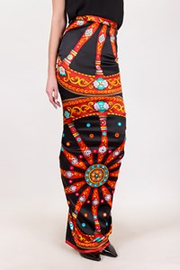 Dolce & Gabbana Multicoloured Satin-Like Maxi Skirt / Size: 42 IT - Fit: S