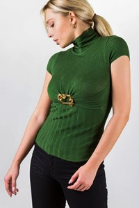 Roberto Cavalli Forest Green Blouse with Metallic Decorative Pin / Size: 40 IT - Fit: XS / S