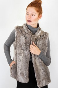 Sandro Adorned Grey Rabbit Fur Vest / Designer size: T2 - Fit: S