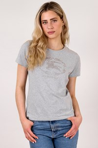 Burberry London Grey Cotton T-Shirt with Metallic Details / Size: L - Fit: M