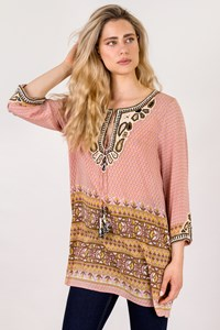 Calypso Light Pink Embroidered Tunic / Size: L - Fit: S