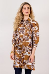 Etro Bronze Printed Silk Shirt Dress / Size: 42 IT - Fit: S / M