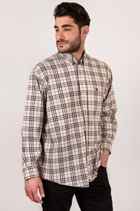 Burberry London Beige Men's Classic Check Print Shirt / Size: XL - Fit: True to size