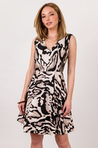 DVF Animal Print Renna Wool Twill Dress  / Size: 6 - Fit: S / M
