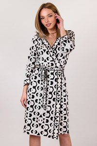 DVF Banded Julian Black and White Silk Dress / Size: 10 US - Fit: S / M