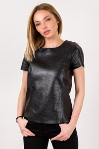 Maje Black Leather Top / Size: 38 - Fit: S