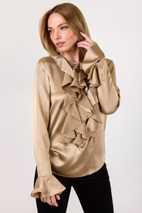 Ralph Lauren Gold Satin Silk Blouse with Ruffled Details / Size: 6 US - Fit: S