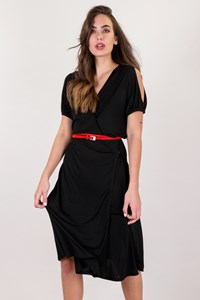 Louis Vuitton Black Wrap Dress with Open Shoulder / Size: L - Fit: M / L