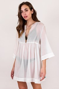 Burberry Brit White Sheer Kaftan with Signature Check Piping / Size: XL - Fit: M