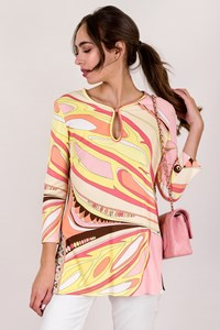 Emilio Pucci Multicoloured Printed Tunic in Pink Hues / Size: 42 IT - Fit: S