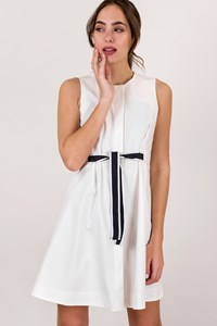 DEPOLO Fashion Exclusive White Buttoned Dress with Monochrome Belt / Size: 44 GR - Fit: S
