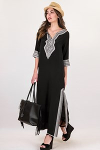 Etoile Coral Black Maxi Silk Embroidered Tunic / Size: TU - Fit: S