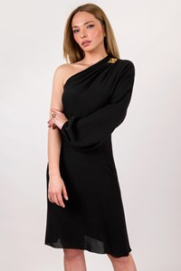 Gianni Versace Black One Sleeved Silk Dress / Size: 42 IT - Fit: S