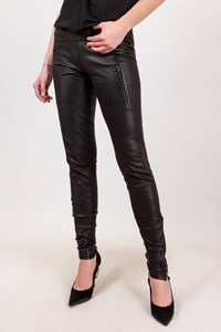 Jasmine di Milo Black Leather Pants with Zippers / Size: 10 UK - Fit: S