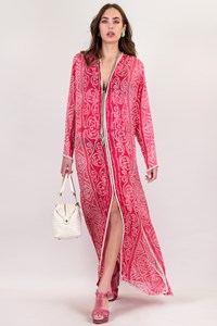 Liza Bruce Handmade Fuchsia Kaftan with Silver Sequins / Size: ? - Fit: S / M