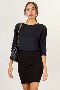alice + olivia Blue-Black Dress with Elasticated Skirt / Size: 4 US - Fit: XS / S