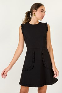 R.E.D. Valentino Black Dress with Ruffled Details / Size: 42 IT - Fit: S / M