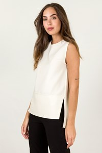 Zeus + Dione Ecru Sleeveless Blouse / Size: ? - Fit: S