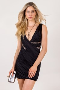 Roberto Cavalli Crystal-Embellished Draped Jersey Tulle Dress  /  Size: 42 IT - Fit: S
