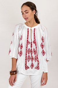Melissa Odabash White Blouse with Red Knitted Details and Sequins / Size: One size - Fit: S